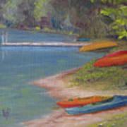 Eighth Lake Canoes Art Print