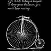 Einstein's Bicycle Quote - White Art Print