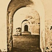 El Morro Fort Barracks Arched Doorways Vertical San Juan Puerto Rico Prints Rustic Print by Shawn O'Brien