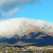 El Paso Franklin Mountains And Low Clouds Art Print