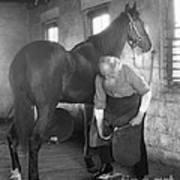 Elderly Blacksmith Shoeing Horse Art Print
