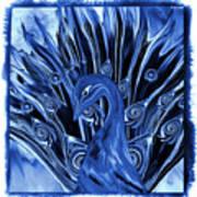 Electric Blues Peacock Art Print