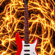 Electric Guitar With Sparks Art Print
