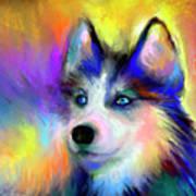 Electric Siberian Husky Dog Painting Print by Svetlana Novikova