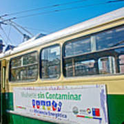 Electric Trolley Took Us To The Port In Valparaiso-chile  Art Print