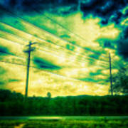 Electric Wires Across The Land Art Print