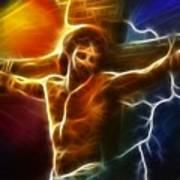Electrifying Jesus Crucifixion Art Print