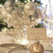 Elegant Holiday Dinner Table With Focus On Place Card Art Print