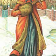 Elegant Lady In Snow, Christmas Card Art Print