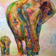 Elephant And Calf Art Print