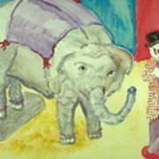 Elephant Betty And Clown Art Print