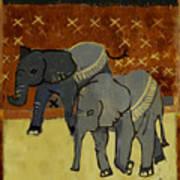 Elephant Calves Art Print