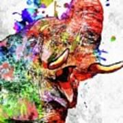 Elephant Colored Grunge Art Print