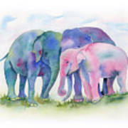 Elephant Hug Art Print