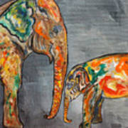 Elephant Play Day Art Print
