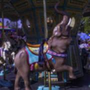 Elephant Ride At The Fair Art Print