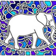 Elephant Rocker Blue Magoo Art Print