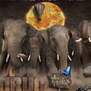 Elephant Run Art Print