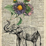 Elephant With Flowers Art Print