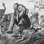 Elephants And Tiger, 1890 Art Print
