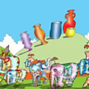 Elephants And Urns On A Hill Art Print