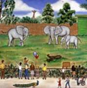 Elephants At The Zoo Art Print