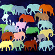 Elephants Going And Coming Art Print