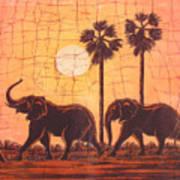 Elephants In Dry Heat Art Print