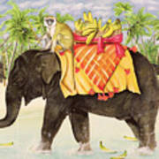 Elephants With Bananas Art Print