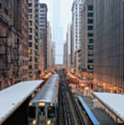Elevated Commuter Train In Chicago Loop Art Print by Photo by John Crouch