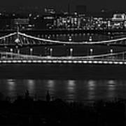 Elizabeth And Liberty Bridges Budapest Bw Art Print
