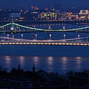 Elizabeth And Liberty Bridges Budapest Art Print