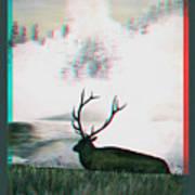 Elk - Use Red-cyan 3d Glasses Art Print