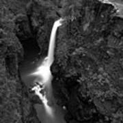 Elk Falls In The Canyon Black And White Art Print