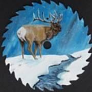Elk In Snow Art Print
