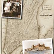 Ellis Island Vintage Map Child Immigrants Art Print
