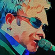 Elton John Blue Eyes Portrait 2 Art Print