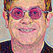 Elton John Triangles Portrait Art Print
