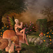 Elven Beautiful Woman With Flute Art Print