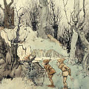 Elves In A Wood Art Print by Arthur Rackham