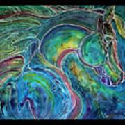 Emerald Eye Equine Abstract Batik Art Print