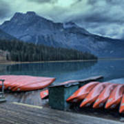 Emerald Lake Canoes Art Print