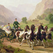 Emperor Franz Joseph I Of Austria Being Driven In His Carriage With His Wife Elizabeth Of Bavaria I Art Print
