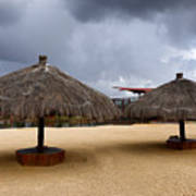 Empty Beach Due To Incoming Storm  Art Print