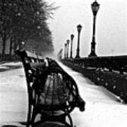 Empty Benches In The Snow Art Print