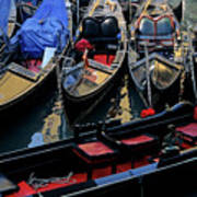 Empty Gondolas Floating On Narrow Canal In Venice Art Print