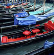 Empty Gondolas Floating On Narrow Canal Art Print by Sami Sarkis