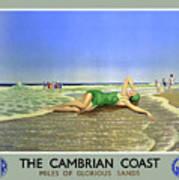England Cambrian Coast Vintage Travel Poster Art Print
