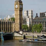 England, London, Big Ben And Thames River Art Print