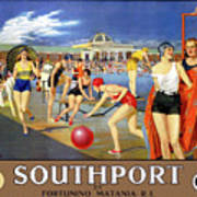England Southport Restored Vintage Travel Poster Art Print